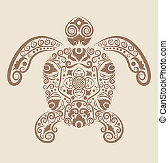 Decorative turtle vector - Turtle with floral ornament...