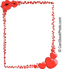 Decorative Valentine Love Hearts and kisses Frame or Border