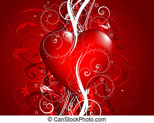 Glossy red heart on a decorative floral background