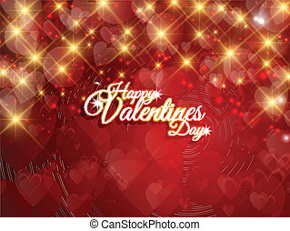Decorative Valentines Day background with gold stars