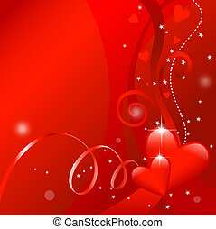 decorative valentines day design with shiny hearts