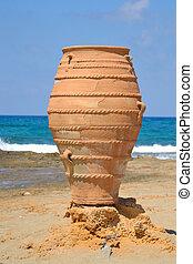 Decorative vase on the Aegean coast.