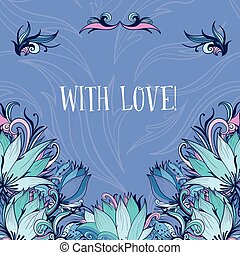 Decorative Vector Card with Lotus Flowers