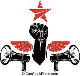 Decorative vector emblem composed with muscular raised clenched fist, bird wings and loudspeakers. Power of social message, revolution idea symbol can be used as tattoo.