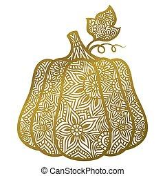 Decorative vector gold pumpkin. Halloween decor. Illustration in mandala style.