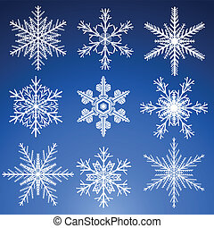 Decorative vector Snowflakes set.