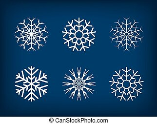 Decorative vector snowflakes winter christmas set.