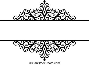 decorative vignette silhouette in black isolated on white...