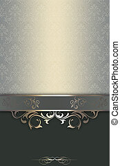 Vintage background with decorative patterns and border. Vintage invitation card or cover-book design.