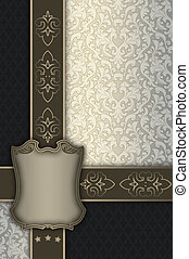Decorative vintage background with frame and patterns.