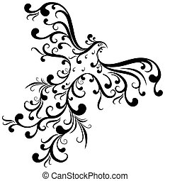 Ornamental bird from vintage curls isolated on white background (vector)