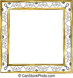 Decorative vintage frame. Gold. Jewish star. Vector illustration on isolated background