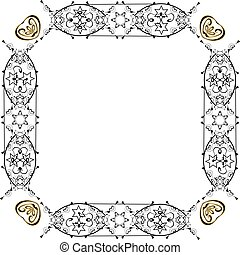 Decorative vintage frame. Jewish star. Vector illustration on isolated background