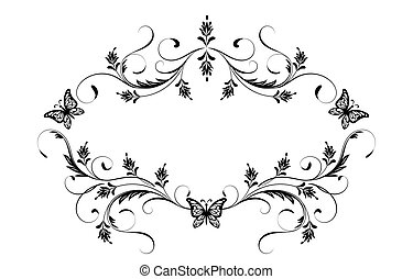 Decorative vintage frame with floral ornament and...