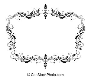 Decorative vintage frame with floral ornament in retro style...