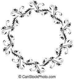 Decorative vintage frame with round floral ornament in retro...