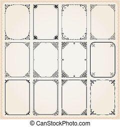 Decorative vintage frames borders backgrounds rectangle set 9