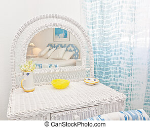 Decorative vintage mirror in the bedroom. The bright colors.