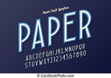 Decorative vintage paper craft typeface, font, typeface design