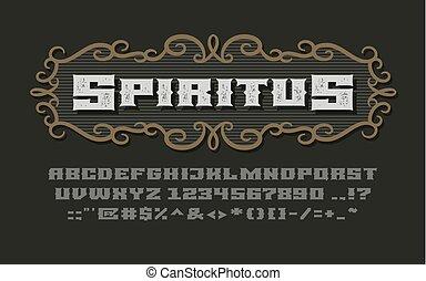 Decorative vintage wide bold serif font with vignette frame on dark background
