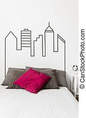 Decorative wall in bedroom