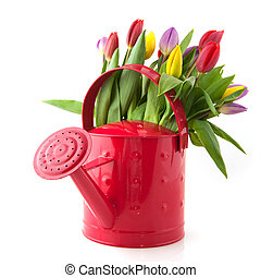 Decorative watering can with flowers