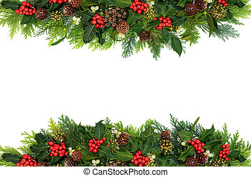 Decorative Winter and Christmas Floral Border