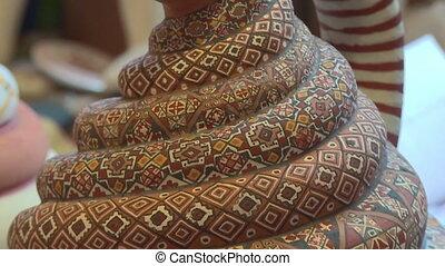 Decorative Wood Carving, Cusco, Peru - Extreme close-up...