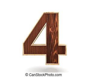 Decorative wooden alphabet digit zero symbol - 4. 3d rendering illustration. Isolated on white background