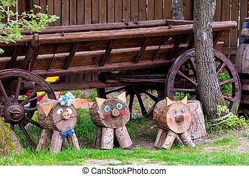 Decorative wooden animal for garden