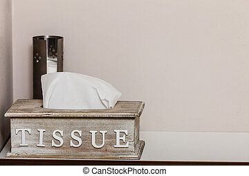 Decorative wooden box with tissues