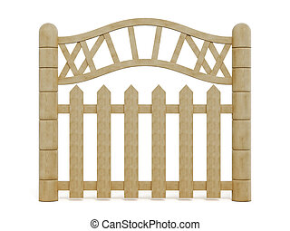 Decorative wooden fence on a white background. 3d rendering