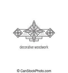 Decorative woodwork line icon