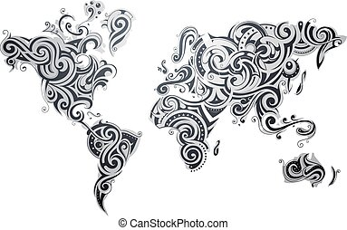 Decorative world map ornament