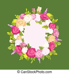 Decorative Wreath Made of Gentle Rose Flowers