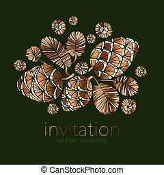 Decorative xmas golden pine cones design