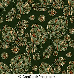 Decorative xmas green pine cone seamless pattern
