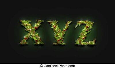Decorative XYZ letters, christmas font mock up darkness - ...