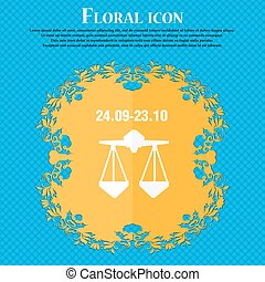 Decorative Zodiac Libra icon. Floral flat design on a blue abstract background with place for your text. Vector