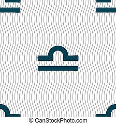 Decorative Zodiac Libra sign. Seamless pattern with geometric texture. Vector