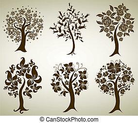 decorativo, árvore, de, flores