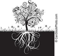 decorativo, árvore, e, raizes, capim, vetorial