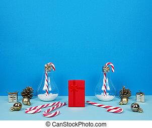 decorativo, árvore, santa, composição, natal