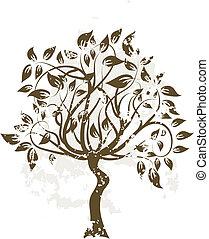 decorativo, árvore, vetorial, grunge, ilustração