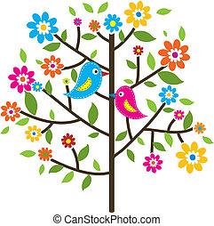 decorativo, árvore, vetorial