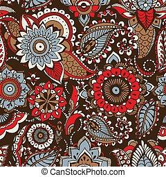 decorativo, étnico, cachemira, árabe, patrón, textil, fondo., motivos, buta, elementos, telón de fondo., multicolor, envoltura, ilustración, oscuridad, mehndi, impresión floral, papel pintado, papel, tradicional, vector