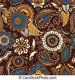 decorativo, étnico, persa, patrón, seamless, textil, fondo., oriental, motivos, marrón, buta, elementos, telón de fondo., multicolor, envoltura, ilustración, mehndi, impresión floral, papel pintado, papel, vector