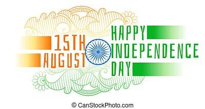 decorativo, índia, fundo, dia, independência, feliz