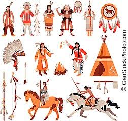 decorativo, índios americanos, jogo, ícones