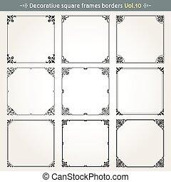 decorativo, 10, quadrato, vettore, set, cornici, profili di fodera